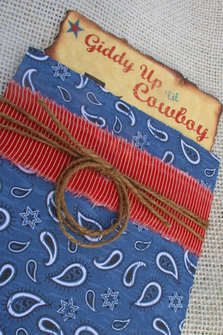 Cowboy party invitation ideas - Little Cowboy Birthday Party Invitation With Twine Lasso