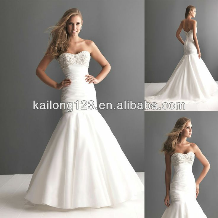 Mermaid style wedding dresses with bling dreamy for Strapless wedding dresses with bling