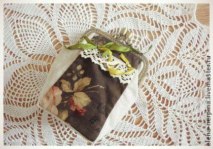 Кошелек - коричневый,цветочный,розы,птица,косметичка ручной работы,косметичка