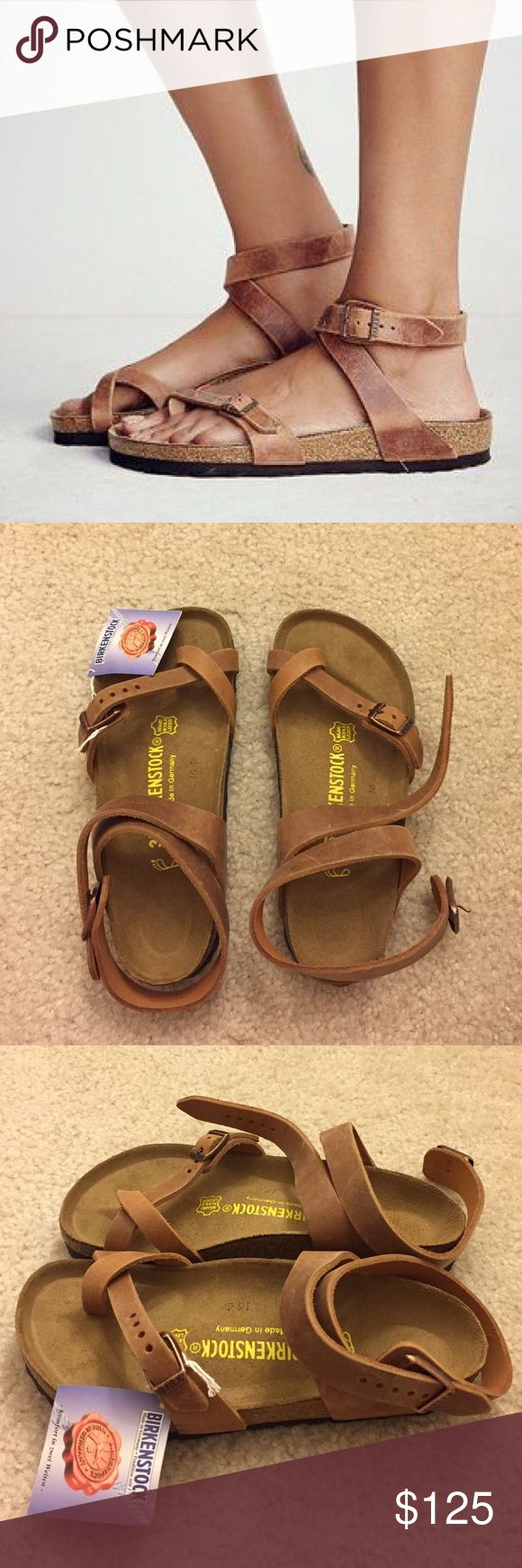 """Birkenstock """"Yara"""" in Antique Brown Birkenstock """"Yara"""" in antique brown. Size 35. Never worn. I own Birkenstocks in a size 35 and they fit perfect but these ones run a bit big. Would fit a size 6. Birkenstock Shoes Sandals"""