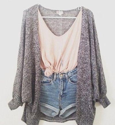 grey slub knit sweater, peachy tied up tank top and denim cutoffs