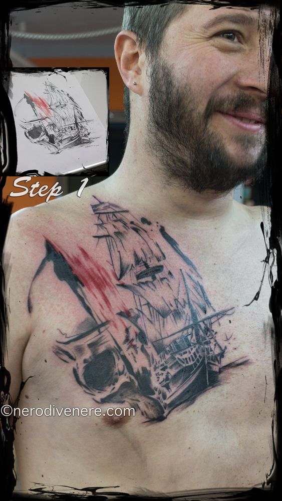#tattoo #tatuaggio #cheyenne #trash #polka #nave #fantasma #teschio #skull #saiing #ship #ghost #nerodivenere.com