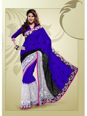 #Bollywood BLUE/WHITE #NET & #GEORGETTE EMBROIDERED SAREE #PrettyStyle #UK