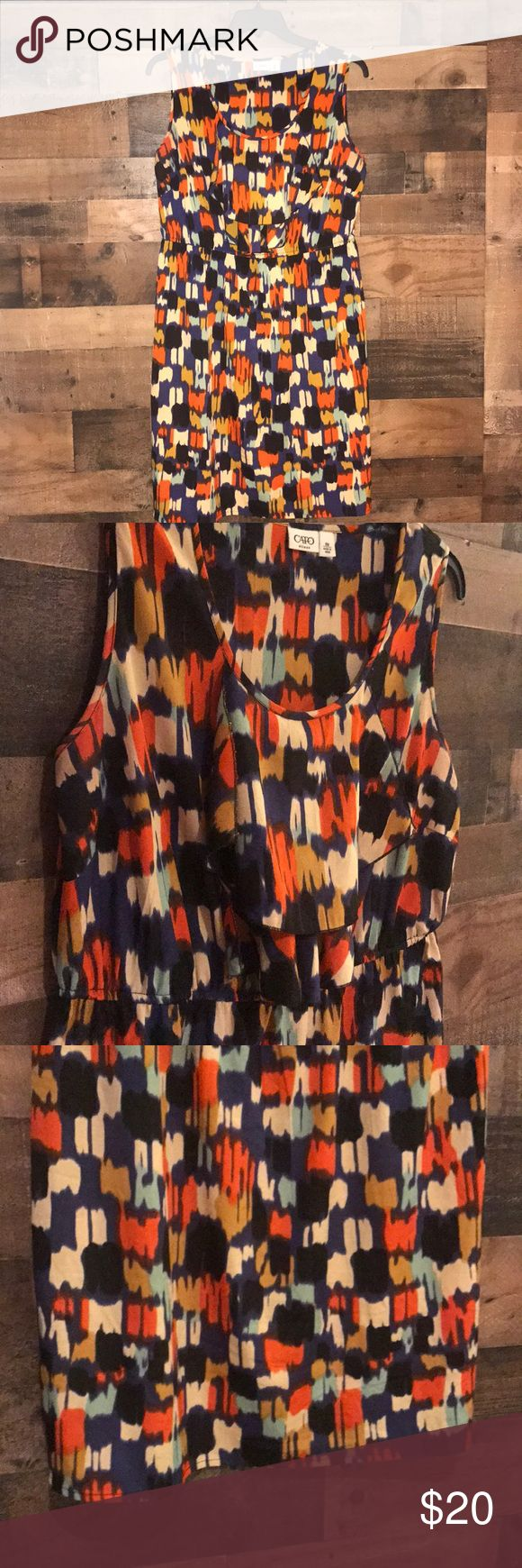 "Women's sleeveless dress Cato plus size dress 18W NAVY, CREAM, TAN, and ORANGE   41"" length Cato Dresses"