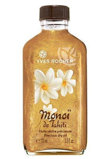 Monoï de Tahiti - Yves Rocher : l'huile sèche précieuse - Huiles pailletées: sélection huiles pailletées pour le corps