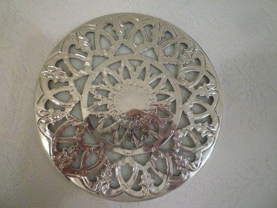 TEAPOT TRIVET. Vintage Victorian Style Teapot Trivet. Ornate Silverplate Over Glass. Elegant Tableware.  Two Available.
