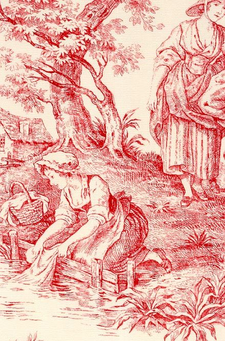 Image detail for -Provence Toile de Jouy Fabric Red on cream scenic toile de jouy fabric