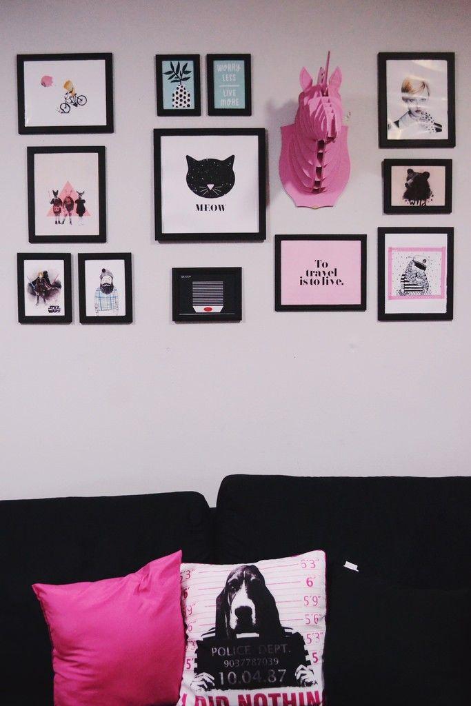 Minha gallery wall onde encontrar ilustrações para baixar e imprimir