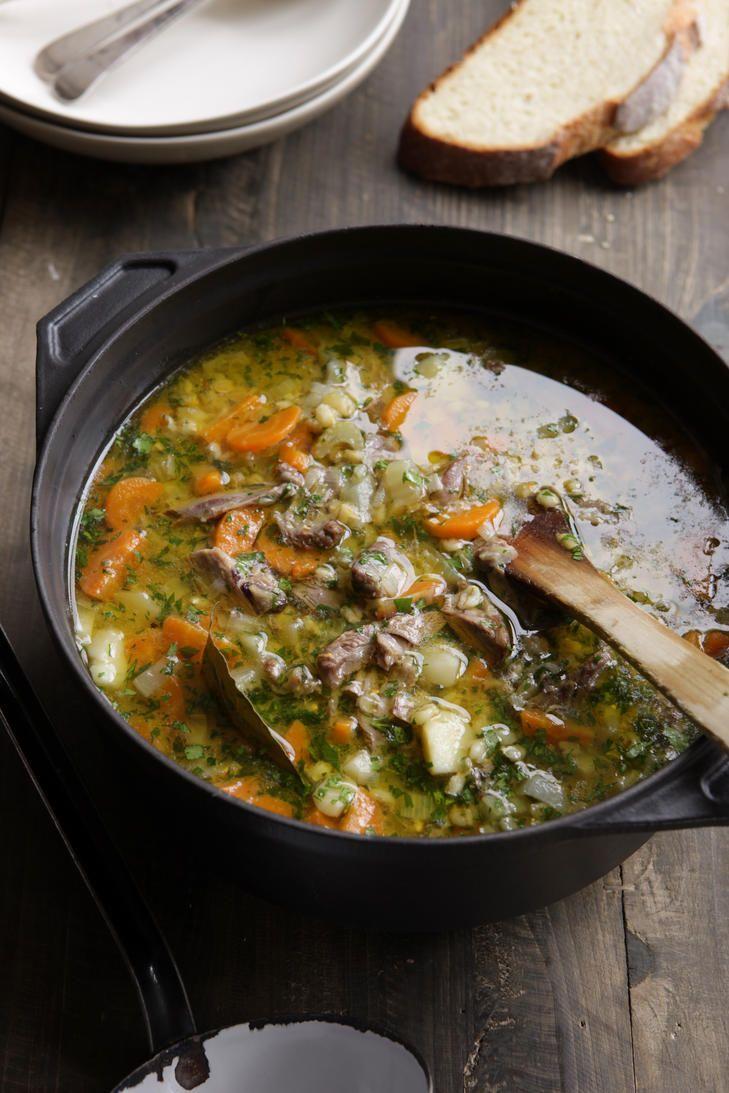 Lamb shank and barley soup.