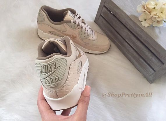reputable site 824ca 0073f Bling Nike Air Max 90 Oatmeal Shoes with Rose Gold Swarovski Crystals