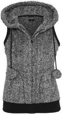 """""""Urban Classics"""" - """"Chaleco de peluche mixto para chicas""""  Suave chaleco con pompones, bolsillos insertados y orejitas en la capucha.  Con el """"Ladies Melange Teddy Vest"""" de  Urban Classics todos querrán abrazarte. El suave chaleco  en blanco y negro tiene pompones y orejitas en la capucha para ser aún más adorable. Podrás usar las garras de oso en caso de emergencia!"""