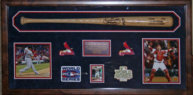 Yadier Molina autographed bat shadowbox framed by Wallstars Custom Framing.   www.wallstars.com ...
