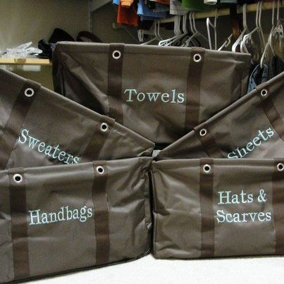 Large Utility Tote closet organization, by Thirty One Gifts.  Join me on FB, just click the pic.