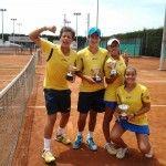 Orlandinho Luz, Gabriel Sidney, Leticia Vidal e Julia Gomide, time vice-campeão da Nations Cup 2012 em Barcelona