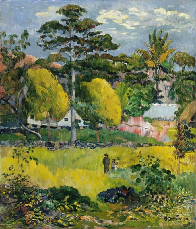 Paul Gauguin - paesaggio, o passeggiata familiare, 1901.