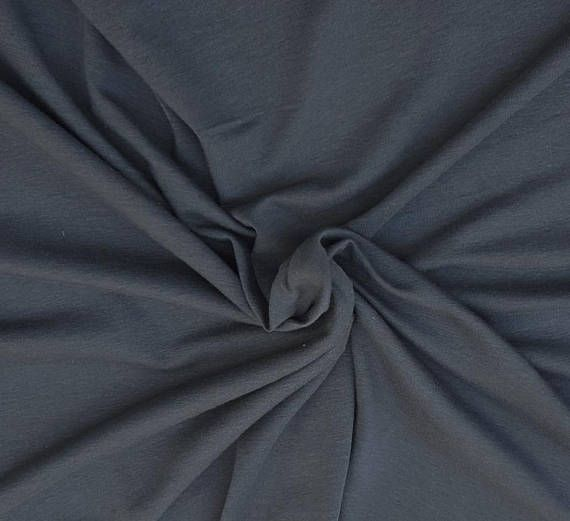 Bamboo Cotton Lycra Fabric Jersey Knit by Yard Charcoal 4 Way