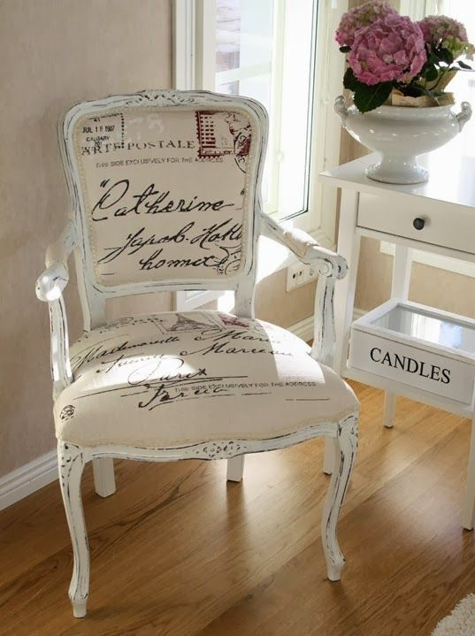 chair with script fabric and distressed white finish