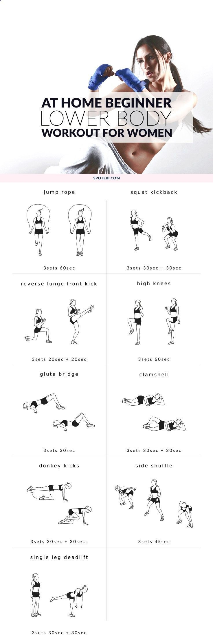 Lift, round and firm your backside with this beginner workout for women. A 25 minute lower body routine to help you sculpt your glutes and trim body fat. www.spotebi.com/...