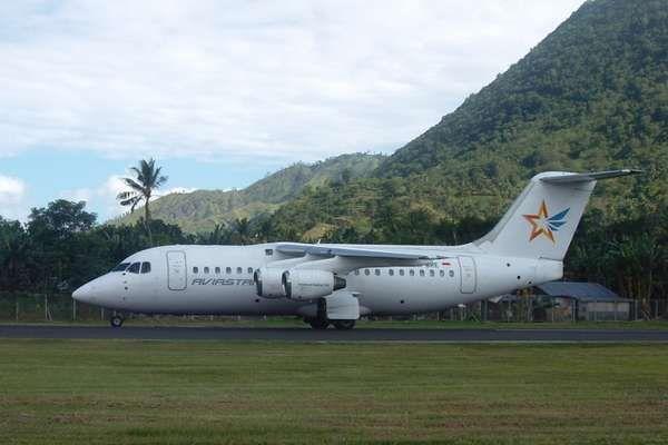aircraft landing at the airport marinda, in town Waisai - Raja Ampat