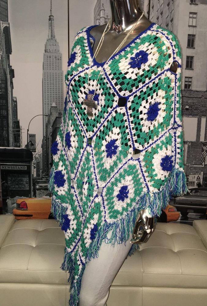 Vintage Hand Knit Crochet Boho Hippie Festival Poncho Cape Shawl Top One Size 🎁 #Handmade #Poncho