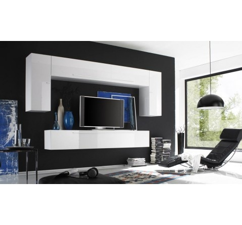 Ensemble Meuble TV murale blanc laque Rocco