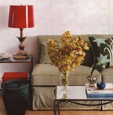 Ivanka Trump's apartment... love the red lamp shade