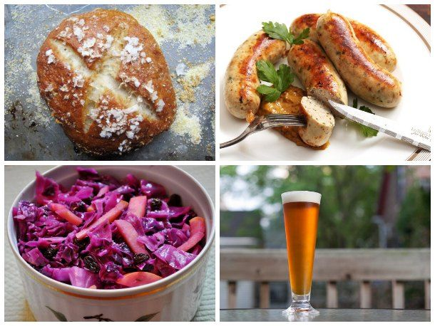 bavarian alpine feast: pork schnitzel meatballs, braised red cabbage ...
