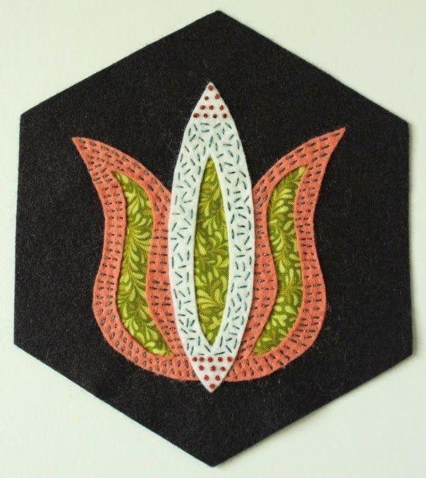 Fellowship of the Flowers week 36, reverse wool applique, wool felt, Valdani threads, Folk Art Fusion, Michelle May