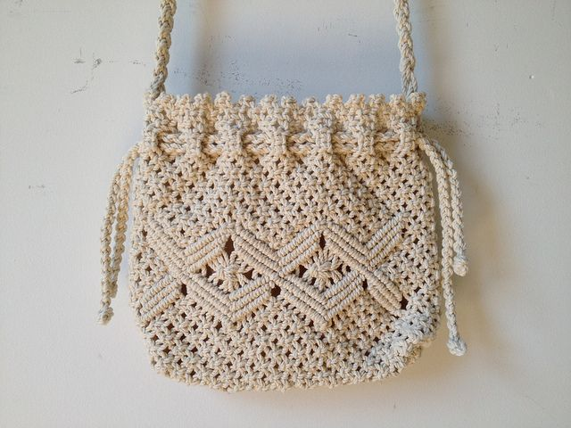 80s Crochet Drawstring Bag by vintspiration, via Flickr