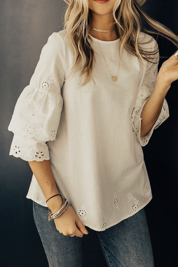 56a90701f8be7 Eyelet embroidery summer blouse