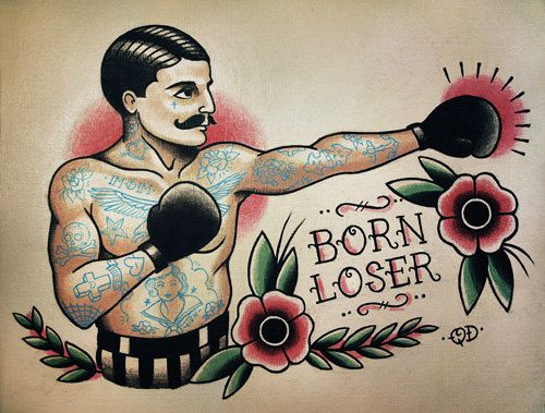 Boxer with Moustache Tattoo Flash Design. Traditional Tattoo Flash and Wall Art by Quyen Dinh