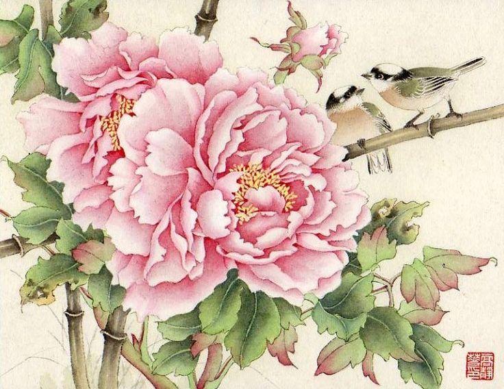 Chinese painting - Peony: Flower Painting, Chinese Flower, Peonies Painting, Chinese Peonies, Jinghua Gao, Gao Dalia, Art Asian, Chinese Painting, Oriental Artworks