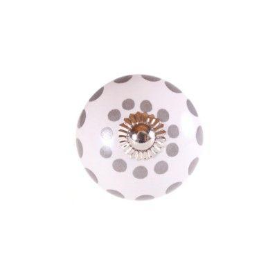 Knopp i porslin - prickar i ring - grå