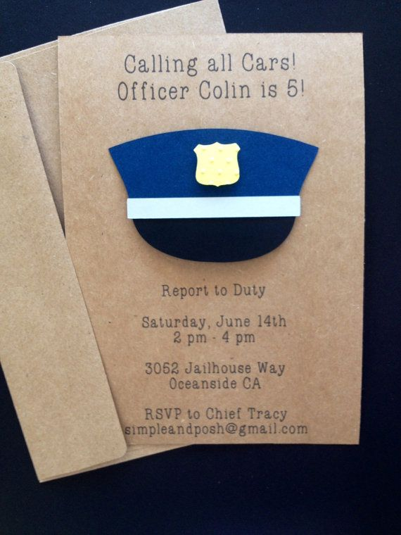 Police Officer Invitations Custom Made for Kid's by SimpleandPosh