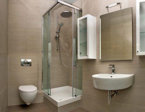 Small Bathroom Pictures With Minimalist Glass Shower Room  #MinimalistBathroom