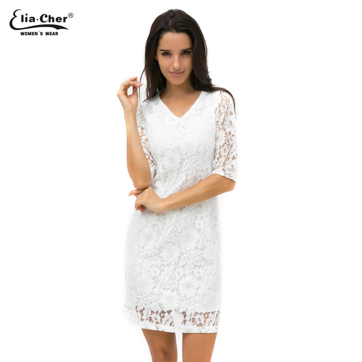 Elia-Cher V Neck Long Sleeve Dress - White With Lace For Party / Evening //Price: $37.71 & FREE Shipping //     #hashtag2