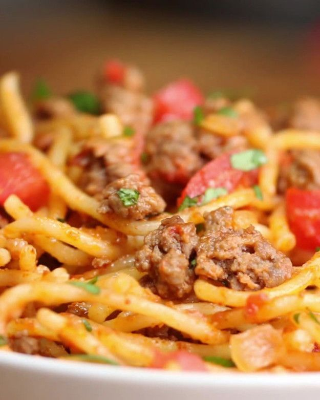 Kid friendly taco spaghetti. Can't decide between tacos and spaghetti? Have them both.