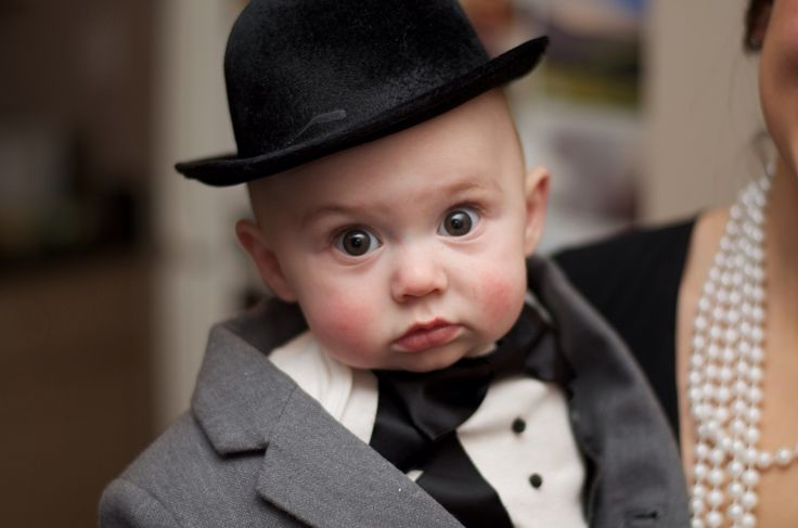 """Dapper baby boy! 1920's / Great Gatsby costume. Tux onesie from Etsy, gray suit from Janie and Jack, little bowler is a cheap """"fascinator"""" meant for women from a regular costume shop."""