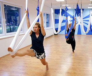 Aerial Yoga...I want to try thisAerial Yoga I, Buckets Lists, Yogai, Yoga Studios, Pole Fit Workout, Healthy, Fun, Aerial Silk Yoga, Health Fit