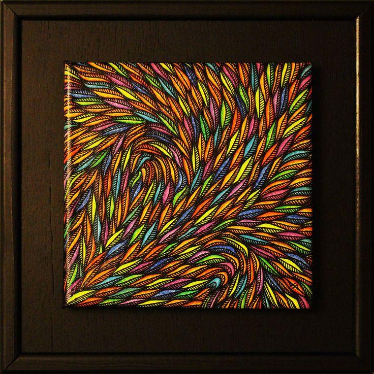 Titre : Fleuris. Tableau réalisé à la peinture acrylique ( posca ), toile de coton tendu sur chassie en bois ( œuvre vernie ).  Format ( sans cadre ) : 20 cm x 20 cm x 1,5 cm.  Format ( avec cadre ) : 31 cm x 31 cm x 1.5 cm  Cadre artisanal en bois, avec baguettage en bois peint à la bombe de peinture.  Date de réalisation : 05 / 2014 #art #œuvre #fleuris #abstrait #peinture #abstract #painting #posca #tableau #contemporain
