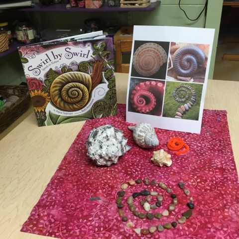 """We read this great book called """" Swirl by Swirl"""" spirals in nature by Joyce Sidman. With all of our talk of dots, lines and shapes we thoug..."""