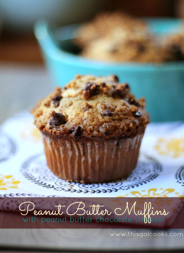 Peanut Butter Muffins with Peanut Butter Chocolate Streusel from www.thisgalcooks.com