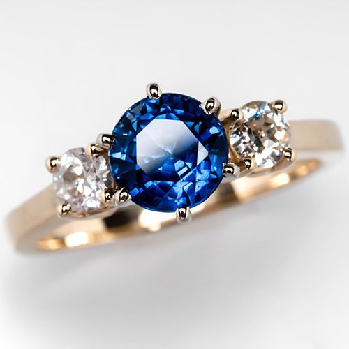 Three Stone Blue Sapphire Engagement Ring w Diamond Accents Solid 14…