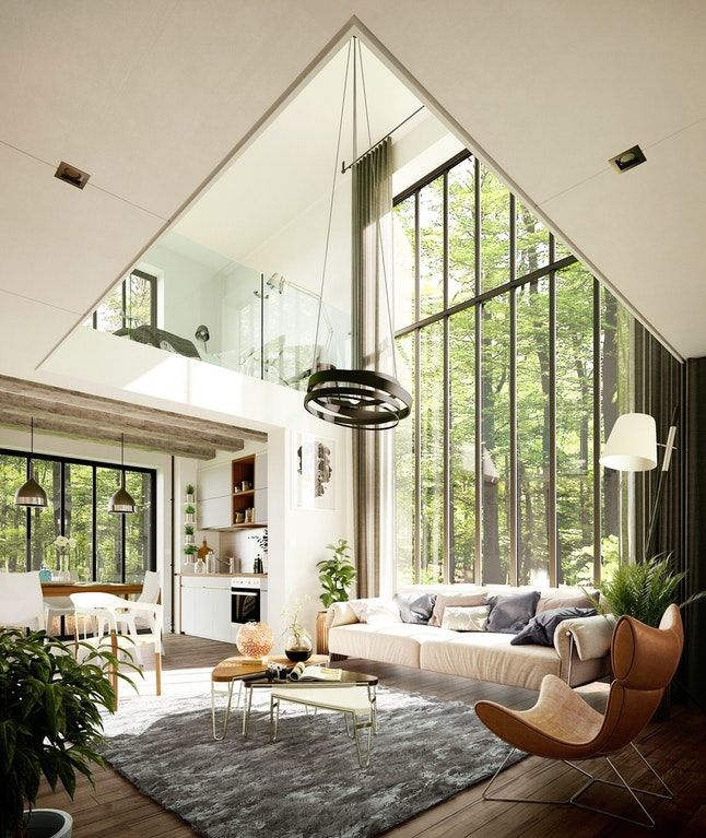 Two Story Window Brightens This Airy Mid Century Modern Great