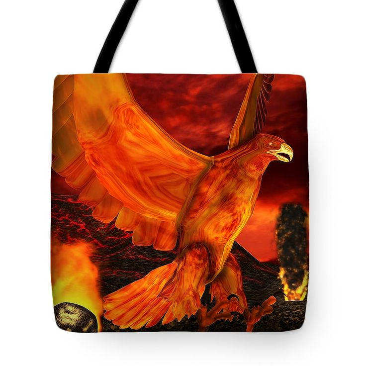 Phoenix Tote Bag featuring the digital art Myth Series 3 Phoenix Fire by Sharon and Renee Lozen
