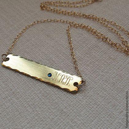Ожерелье с монограммой. Золотая цепочка с подвеской - золотой,ожерелье