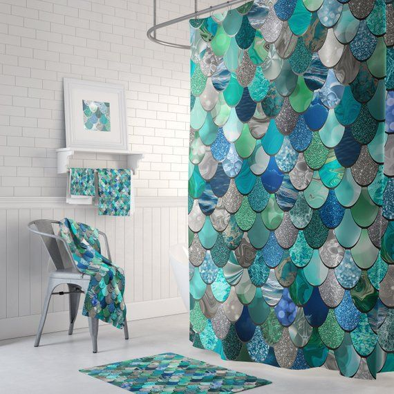 Beautiful Teal Green Blue Mermaid Shower Curtain With Optional Matching Towels And Bath Mats Mermaid