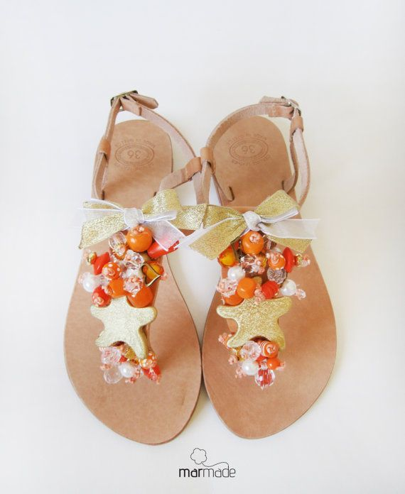 Handmade Leather Sandals with Gold Starfish orange by MyMarmade