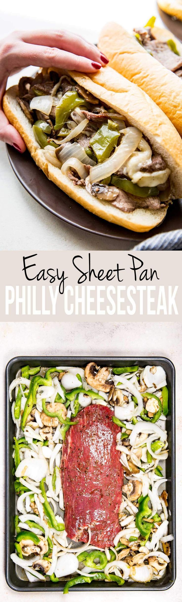 Easy, flavorful, and oh so fun! We love this Sheet Pan Philly Cheesesteak