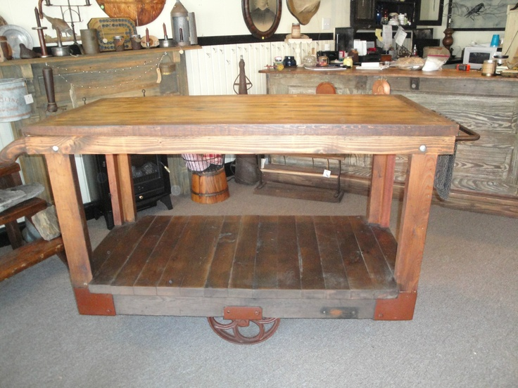 Antique Primitive Industrial Factory Cart Kitchen